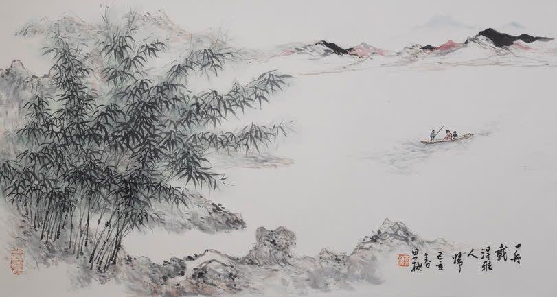 周思梅-舟载得雅人归 70×35,2019年